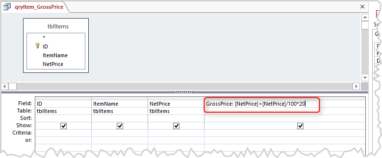 Query with gross price calculation
