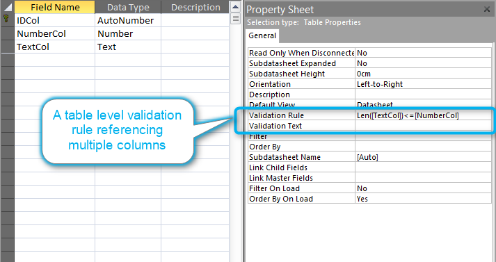 Validation rule on table level for multiple fields
