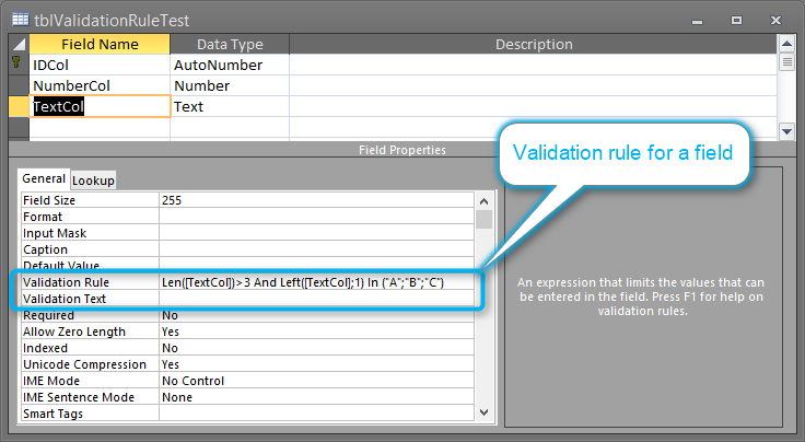An example graphical validation rule for the earr process.
