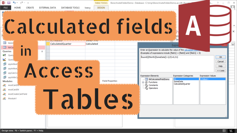 How to create a calculated field in a Microsoft Access table