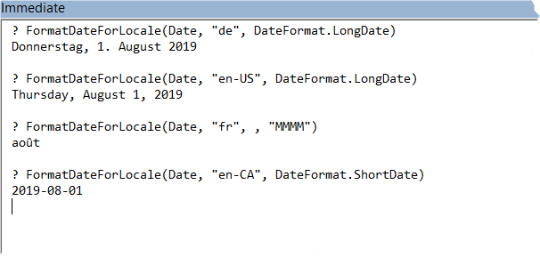 Sample output from the FormatDateForLocale function in the Immediate Pane