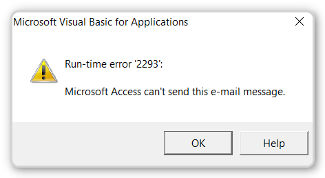 Microsoft Access can't send this email message