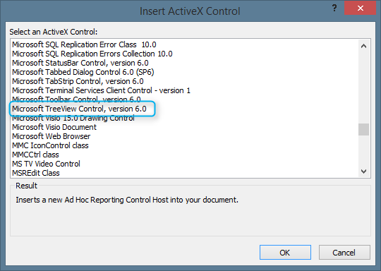 Insert ActiveX dialog showing Microsoft TreeView Control in Access 2013 64bit