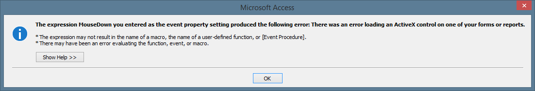 ActiveX error message for TreeView event