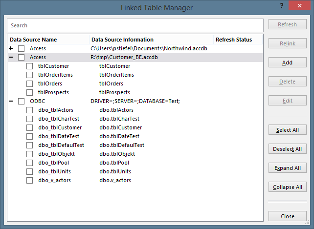 New Linked Table Manager in Access 2016/365