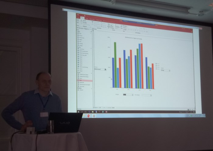 Karl Donaubauer plays a Access 2019 Modern Charts demo video at AccessDevCon2018