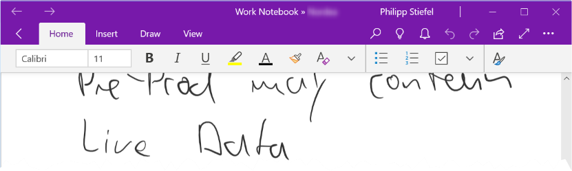 Screenshot of the simplified Ribbon in OneNote on Windows 10