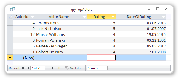 Screenshot of basic select top query results