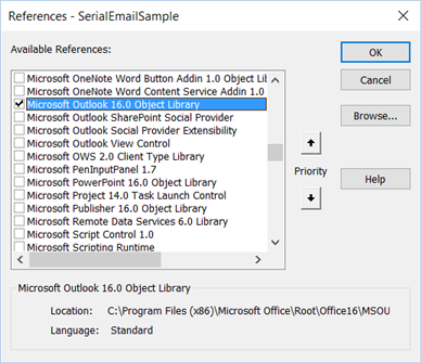 Add Reference to Outlook Object Library