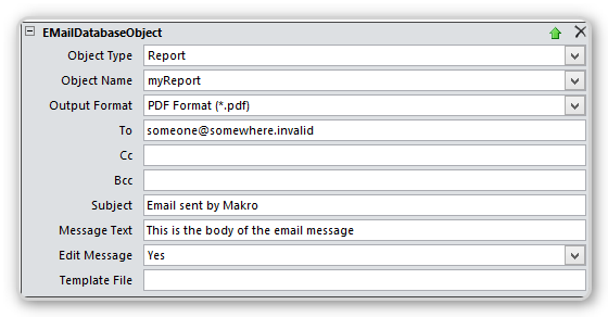 Screenshot of the EmailDatabaseObject Macro-Action