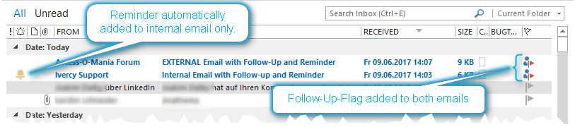 how to add reminder in outlook email