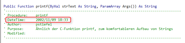 String Format / printf in VBA - Codekabinett