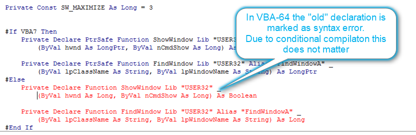 Windows API declarations in VBA for 64-bit - Codekabinett
